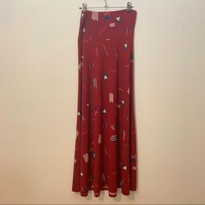 LuLaRoe | Maxi Skirt Red Geometric Small